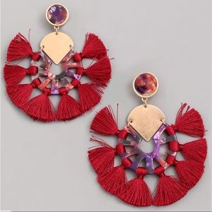 Jewelry - NEW! Acrylic Stud Post Tassel Hoop Earrings